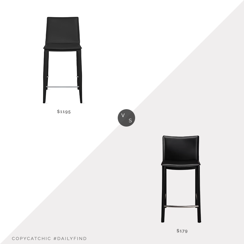 Daily Find: DWR Bottega Counter Stool vs. Wayfair Lucier Counter Stool, leather counter stool look for less, copycatchic luxe living for less, budget home decor and design, daily finds, home trends, sales, budget travel and room redos