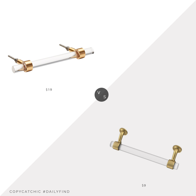 Daily Find: CB2 Brass and Acrylic Handle vs. Home Depot Liberty Floating Glass Drawer Pull, acrylic pull look for less, copycatchic luxe living for less, budget home decor and design, daily finds, home trends, sales, budget travel and room redos