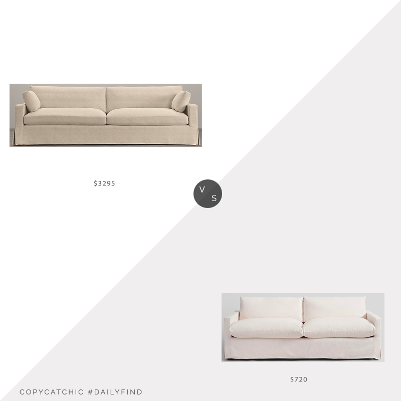Daily Find: Restoration Hardware Belgian Track Arm Slipcovered-Two-Cushion Sofa vs. World Market Ivory Feather Filled Brynn Sofa, RH sofa look for less, copycatchic luxe living for less, budget home decor and design, daily finds, home trends, sales, budget travel and room redos
