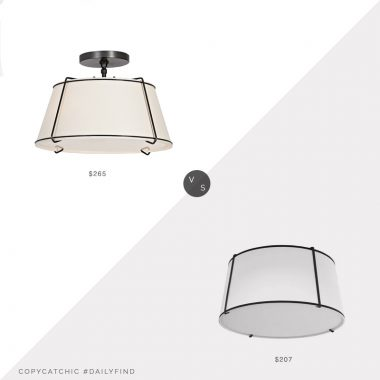 Daily Find: Rejuvenation Conical Drum Fixture vs. Overstock 3LT Trapezoid Flush Mount, rejuvenation light look for less, copycatchic luxe living for less, budget home decor and design, daily finds, home trends, sales, budget travel and room redos