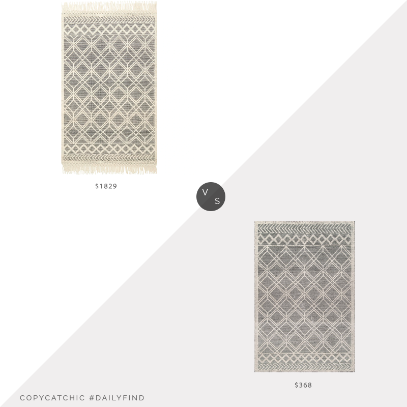 Daily Find: Magnolia Holloway Black Ivory Rug vs. Rugs USA Pearla Argyle Trellis Gray Rug, black and white rug look for less, copycatchic luxe living for less, budget home decor and design, daily finds, home trends, sales, budget travel and room redos