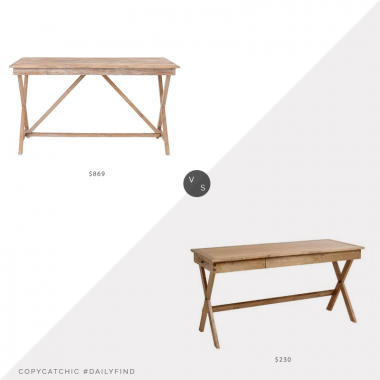 Daily Find: Pottery Barn Jessie Reclaimed Wood Desk vs. World Market Campaign Desk, campaign desk look for less, copycatchic luxe living for less, budget home decor and design, daily finds, home trends, sales, budget travel and room redos