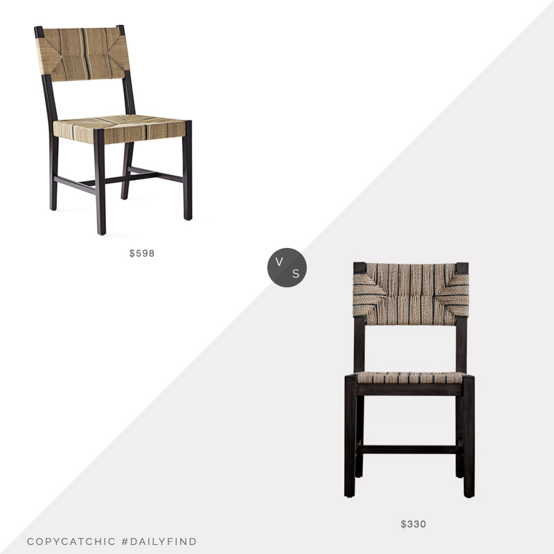 Daily Find: Serena and Lily Carson Side Chair vs. Wayfair Bungalow Rose Allenbie Dining Chair, woven dining chair look for less, copycatchic luxe living for less, budget home decor and design, daily finds, home trends, sales, budget travel and room redos
