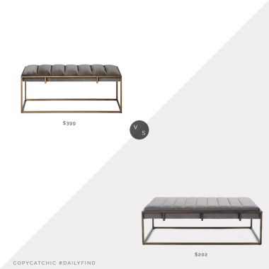 Daily Find: West Elm Fontanne Bench vs. Overstock Magdalene Bench, gray velvet bench look for less, copycatchic luxe living for less, budget home decor and design, daily finds, home trends, sales, budget travel and room redos