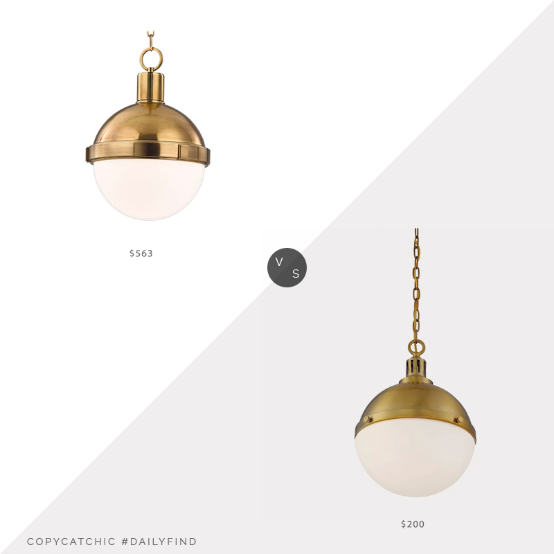 Daily Find: Bellacor Hudson Valley Lambert AgedBrass Pendant vs. Wayfair Breakwater Bay Landrum 2-Light Single Globe Pendant, brass light fixture look for less, copycatchic luxe living for less, budget home decor and design, daily finds, home trends, sales, budget travel and room redos