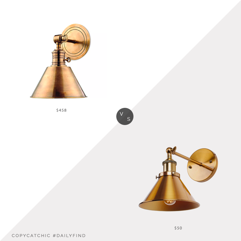 Daily Find: Bloomingdale's Hudson Valley Lighting Garden Sconce vs. Overstock Industrial 1-Light Wall Sconce with Cone Shade Metal, brass cone sconce look for less, copycatchic luxe living for less, budget home decor and design, daily finds, home trends, sales, budget travel and room redos