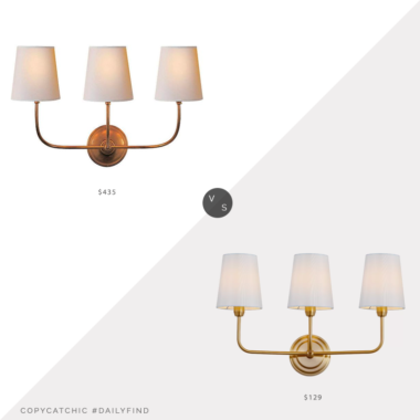 Daily Find: One Kings Lane Thomas O'Brien for Visual Comfort Vendome Triple Sconce vs. Wayfair Mercer41 Carmack 3-Light Armed Sconce, brass triple sconce look for less, copycatchic luxe living for less, budget home decor and design, daily finds, home trends, sales, budget travel and room redos