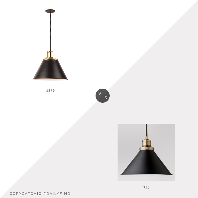 Daily Find: Rejuvenation Butte Cone Aged Brass Pendant vs. Target Threshold Crosby Small Pendant Ceiling Light, black cone light look for less, copycatchic luxe living for less, budget home decor and design, daily finds, home trends, sales, budget travel and room redos