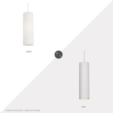 Daily Find: YLighting Mati Pendant Light vs. Ideas4Lighting Lucide Modern Pendant, white cylinder light look for less, copycatchic luxe living for less, budget home decor and design, daily finds, home trends, sales, budget travel and room redos