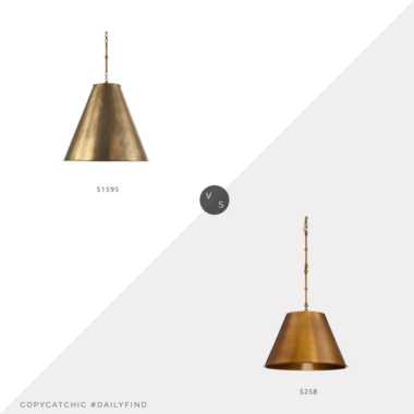 Daily Find: Williams Sonoma Garrison Pendant, Antique Brass vs. Home Depot Filament Design 1-Light Warm Brass Pendant, brass light fixture look for less, copycatchic luxe living for less, budget home decor and design, daily finds, home trends, sales, budget travel and room redos
