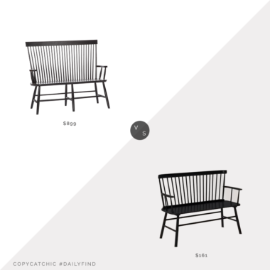 Dail Find: Rejuvenation High Back Bench vs. Wayfair Carnany Lower Wood Bench, black spindle bench look for less, copycatchic luxe living for less, budget home decor and design, daily finds, home trends, sales, budget travel and room redos
