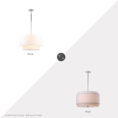 "Daily Find: Rejuvenation 24"" Tiered Drum Pendant vs. Wayfair Strickland 20"" Statement Drum Chandelier, tiered light fixture look for less, copycatchic luxe living for less, budget home decor and design, daily finds, home trends, sales, budget travel and room redos"