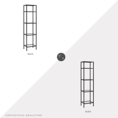 Daily Find: World Market Bronze Milayan Etagere Shelf vs. Birch Lane Legette Etagere Bookcase, metal glass etagere look for less, copycatchic luxe living for less, budget home decor and design, daily finds, home trends, sales, budget travel and room redos