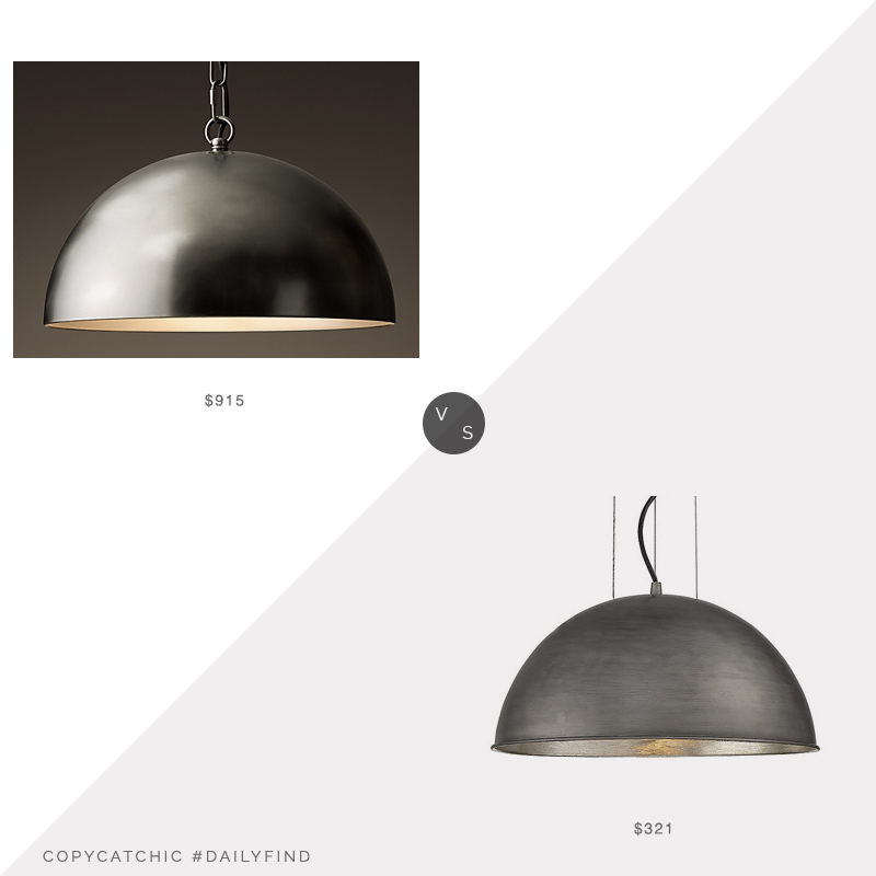 Daily Find: Restoration Hardware Antiqued Metal Pendant vs. Lumens Sommerton Pendant, RH light fixture look for less, copycatchic luxe living for less, budget home decor and design, daily finds, home trends, sales, budget travel and room redos