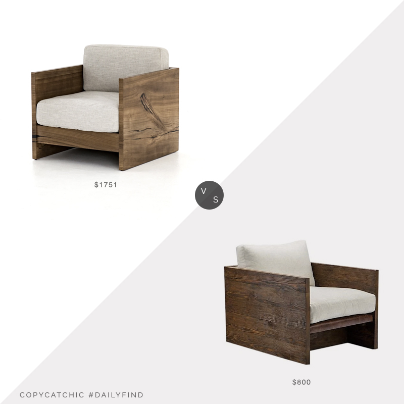 Daily Find: Burke Decor Franklin Chair vs. M Theory Norton Lounge Chair, reclaimed armchair look for less, copycatchic luxe living for less, budget home decor and design, daily finds, home trends, sales, budget travel and room redos