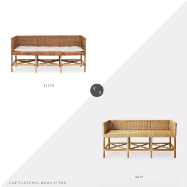 Daily Find: One Kings Lane Lina Rattan Bench vs. Serena and Lily Shore Bench, rattan bench look for less, copycatchic luxe living for less, budget home decor and design, daily finds, home trends, sales, budget travel and room redos