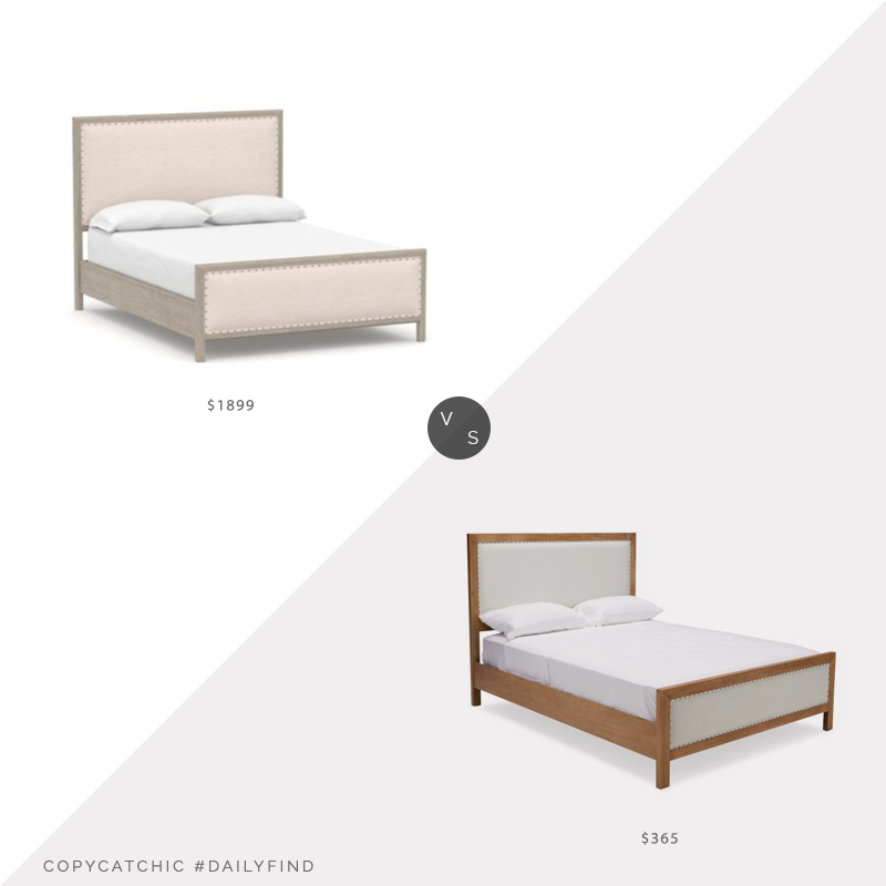 Daily Find: Pottery Barn Toulouse Wood Bed vs. Hayneedle Belham Living Lane Creek Upholstered Panel Bed, mixed material bed look for less, copycatchic luxe living for less, budget home decor and design, daily finds, home trends, sales, budget travel and room redos