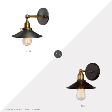 Daily Find: Restoration Hardware 20th C. Factory Filament Metal Sconce vs. Bellacor 251 First River Station Industrial Sconce, metal sconce look for less, copycatchic luxe living for less, budget home decor and design, daily finds, home trends, sales, budget travel and room redos