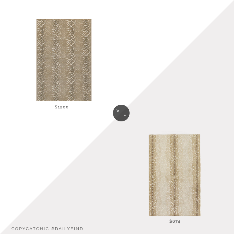 Daily Find: One Kings Lane Stark Fauna Rug, Almond vs. Ballard Designs Antelope Hand Tufted Rug, antelope rug look for less, copycatchic luxe living for less, budget home decor and design, daily finds, home trends, sales, budget travel and room redos