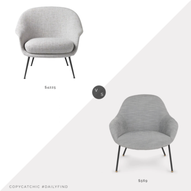 Daily Find: 1st Dibs Bat Low Back Lounge Chair vs. Article Savary Chair, modern gray chair look for less, copycatchic luxe living for less, budget home decor and design, daily finds, home trends, sales, budget travel and room redos