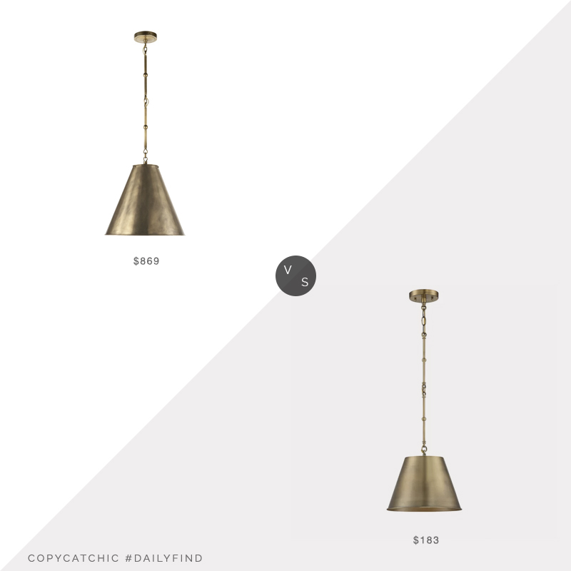 Daily Find: McGee & Co. Goodman Pendant vs. Wayfair Nadeau Pendant, brass pendant light look for less, copycatchic luxe living for less, budget home decor and design, daily finds, home trends, sales, budget travel and room redos