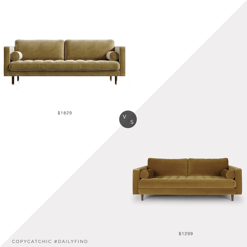 Daily Find: Rove Concepts Luca Sofa vs. Article Sven Sofa, mustard sofa look for less, copycatchic luxe living for less, budget home decor and design, daily finds, home trends, sales, budget travel and room redos