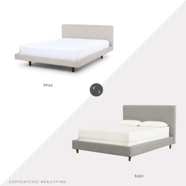 Daily Find: Article Tessu Bed vs. Living Spaces Dean Charcoal Full Upholstered Panel Bed, gray upholstered bed look for less, copycatchic luxe living for less, budget home decor and design, daily finds, home trends, sales, budget travel and room redos