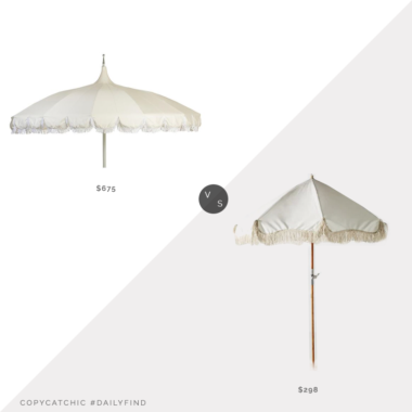 Daily Find: One Kings Lane Aya Pagoda Fringe Patio Umbrella vs. Anthropologie Soleil Beach Umbrella, fringe umbrella look for less, copycatchic luxe living for less, budget home decor and design, daily finds, home trends, sales, budget travel and room redos