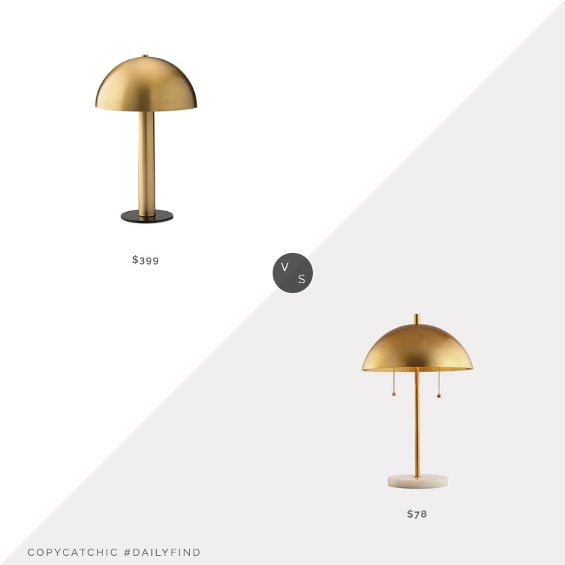 Daily Find: Schoolhouse Sidnie Lamp vs. Jonathan Y Ella Dome Table Lamp, brass table lamp look for less, copycatchic luxe living for less, budget home decor and design, daily finds, home trends, sales, budget travel and room redos