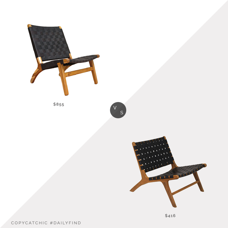 Daily Find: Houzz Black Leather Teak Lounge Chair vs. Houzz Marty Accent Chair in Black/Natural, leather strap chair look for less, copycatchic luxe living for less, budget home decor and design, daily finds, home trends, sales, budget travel and room redos
