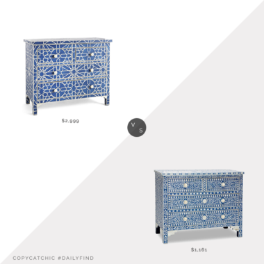 Daily Find: Wisteria Sapphire Bone Inlay Moroccan Chest vs. Bohemian Artifacts Bone Inlay Dresser, inlay dresser look for less, inlay chest look for less, copycatchic luxe living for less, budget home decor and design, daily finds, home trends, sales, budget travel and room redos