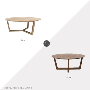 Daily Find: Ethnicraft Oak Tripod Coffee Table vs. West Elm Stowe Coffee Table, round wood coffee table look for less, copycatchic luxe living for less, budget home decor and design, daily finds, home trends, sales, budget travel and room redos