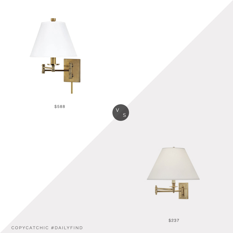 Daily Find: Chairish Claremont Sconce vs. Lumens Kinetic Brass Wall Sconce, brass wall sconce look for less, copycatchic luxe living for less, budget home decor and design, daily finds, home trends, sales, budget travel and room redos