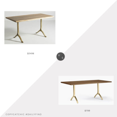 Daily Find: Anthropologie Nemus Dining Table vs. West Elm Avery Wishbone Dining Table, wood dining table brass legs look for less, copycatchic luxe living for less, budget home decor and design, daily finds, home trends, sales, budget travel and room redos