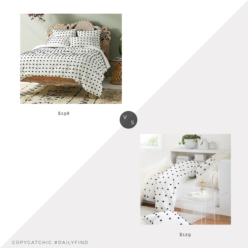 Daily Find: Anthropologie Tufted Makers Quilt vs. Pottery Barn Teen Tufted Duvet Cover, pom pom quilt look for less, copycatchic luxe living for less, budget home decor and design, daily finds, home trends, sales, budget travel and room redos