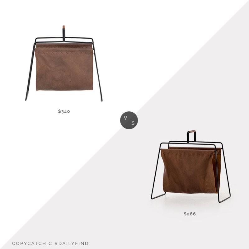 Daily Find: Burke Decor Aesop Magazine Rack vs. Wayfair Aiden Magazine Rack, leather magazine rack look for less, copycatchic luxe living for less, budget home decor and design, daily finds, home trends, sales, budget travel and room redos