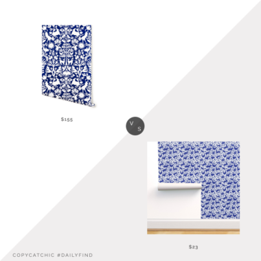 Daily Find: Hygge & West Navy Otomi Wallpaper vs. Etsy Spoonflower Blue Otomi Wallpaper, otomi wallpaper look for less, copycatchic luxe living for less, budget home decor and design, daily finds, home trends, sales, budget travel and room redos