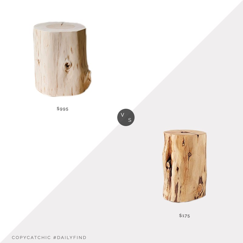 Daily Find: Jenni Kayne Cedar Side Table vs. Etsy Reclaimed Wood Side Table, stump side table look for less, copycatchic luxe living for less, budget home decor and design, daily finds, home trends, sales, budget travel and room redos