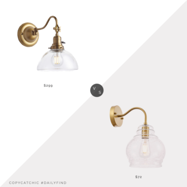 Daily Find: Rejuvenation Ford's Mill Fitter Single Swing-Arm Sconce vs. Bellacor Elegant Lighting Pierce Brass One-Light Wall Sconce, brass sconce look for less, copycatchic luxe living for less, budget home decor and design, daily finds, home trends, sales, budget travel and room redos