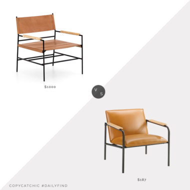 Daily Find: Perigold Four Hands Jack Armchair vs. Wayfair Irene Armchair, leather arm chair look for less, copycatchic luxe living for less, budget home decor and design, daily finds, home trends, sales, budget travel and room redos