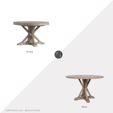Daily Find: Pottery Barn Benchwright Round Pedestal Extending Dining Table vs. Kirkland's Graywash Wooden Farmhouse Round Dining Table, farmhouse dining table look for less, copycatchic luxe living for less, budget home decor and design, daily finds, home trends, sales, budget travel and room redos