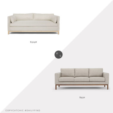 Daily Find: Lulu and Georgia Hollingworth Sofa vs. Wayfair Catalina Sofa, sofa wood base look for less, copycatchic luxe living for less, budget home decor and design, daily finds, home trends, sales, budget travel and room redos