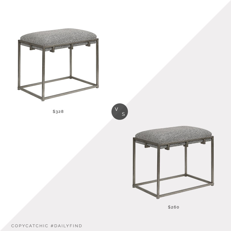 Daily Find: Build.com Uttermost Edie Framed Bench vs. Wayfair Hoise of Hampton Surya Stool, gray metal stool look for less, copycatchic luxe living for less, budget home decor and design, daily finds, home trends, sales, budget travel and room redos