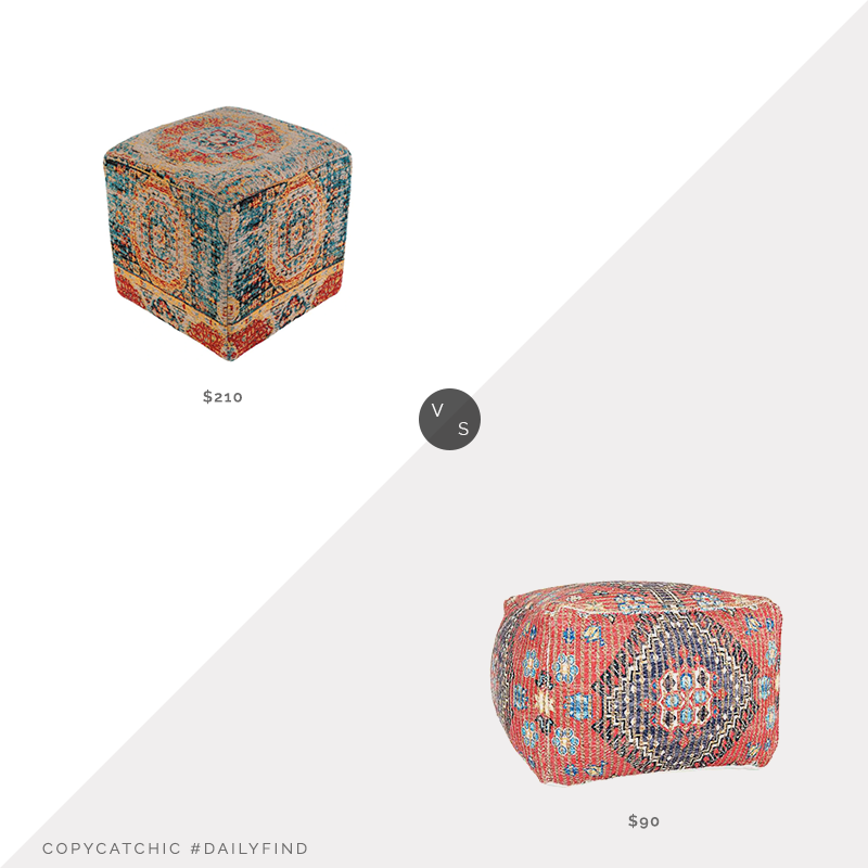 Daily Find: Burke Decor Amsterdam Pouf vs. Kirkland's Red Persian Printed Woven Pouf, persian pouf look for less, copycatchic luxe living for less, budget home decor and design, daily finds, home trends, sales, budget travel and room redos