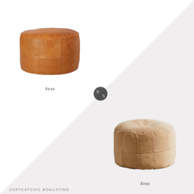 Daily Find: CB2 Round Saddle Leather Pouf Ottoman vs. Urban Outfitters Mesa Patchwork Leather Ottoman, patchwork leather pouf look for less, copycatchic luxe living for less, budget home decor and design, daily finds, home trends, sales, budget travel and room redos