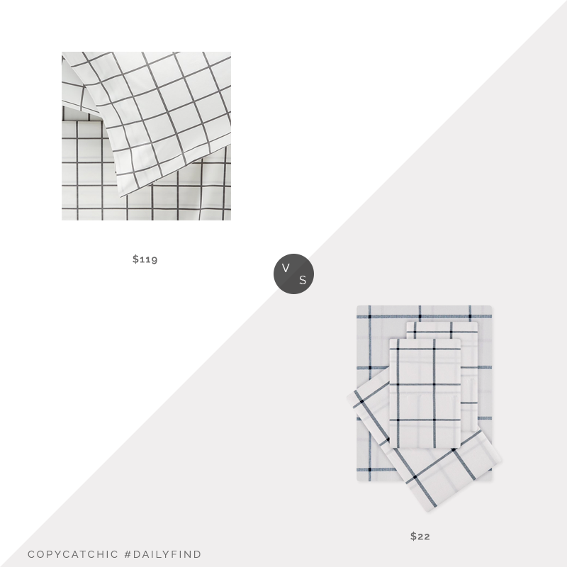 Daily Find: Crate and Barrel Organic Grid Sheets vs. Stein Mart 4 Piece Modern Farmhouse Grid Sheet Set, grid sheets look for less, copycatchic luxe living for less, budget home decor and design, daily finds, home trends, sales, budget travel and room redos