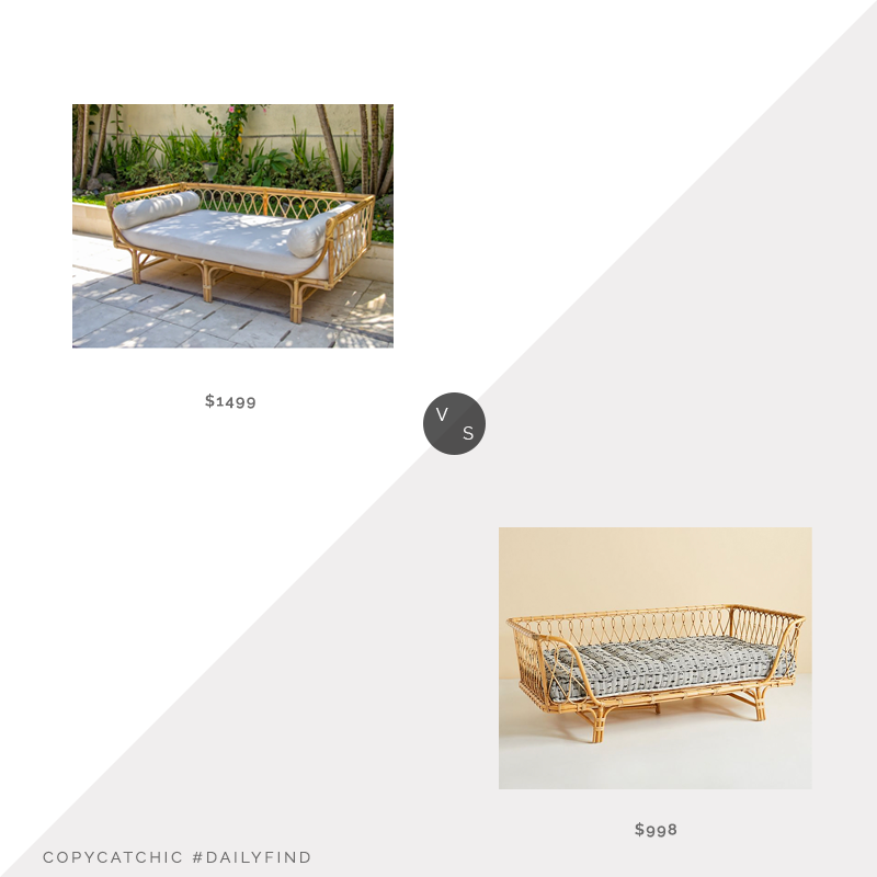 Daily Find: France and Son Rattan Tropisk Daybed vs. Anthropologie Venus Rattan Daybed, rattan daybed look for less, copycatchic luxe living for less, budget home decor and design, daily finds, home trends, sales, budget travel and room redos