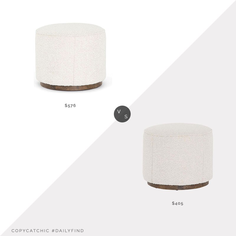 "Daily Find: Houzz Cristoforo 22"" Ottoman vs. McGee and Co. Dawson 22"" Ottoman, round white ottoman look for less, copycatchic luxe living for less, budget home decor and design, daily finds, home trends, sales, budget travel and room redos"