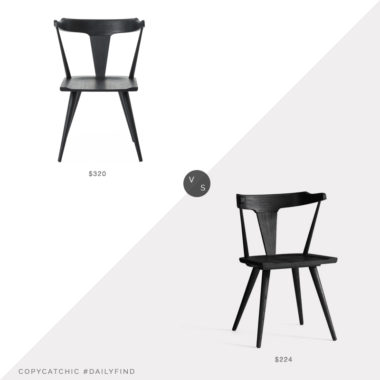 Daily Find: Kathy Kuo Black Oak Barrel Back Chair vs. Pottery Barn Westan Dining Chair, black wood dining chair look for less, copycatchic luxe living for less, budget home decor and design, daily finds, home trends, sales, budget travel and room redos
