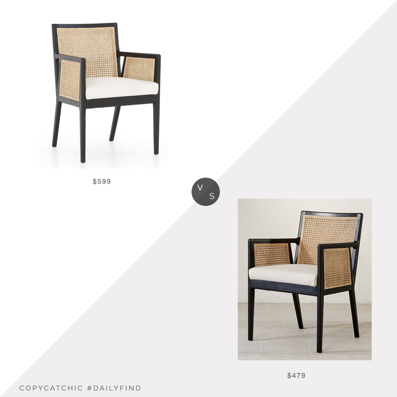 Daily Find: Pottery Barn Lisbon Cane Armchair vs. Urban Outfitters Elise Cane Armchair, cane chair look for less, copycatchic luxe living for less, budget home decor and design, daily finds, home trends, sales, budget travel and room redos